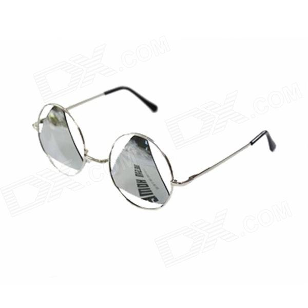 P1 Metal Frame PC Lens UV400 Protection Reflective Sunglasses - Silver