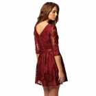 Women's Stylish Jacquard Weave Sunflower Pattern Lace Dress w/ Belt - Claret Red (M)