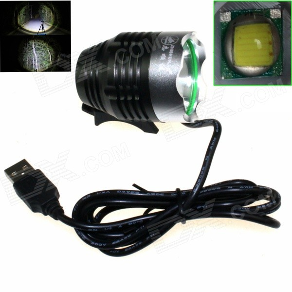 ZHISHUNJIA LED 900lm 3-mode 5V Mobile Power USB Bicycle Headlamp - Black + Silver