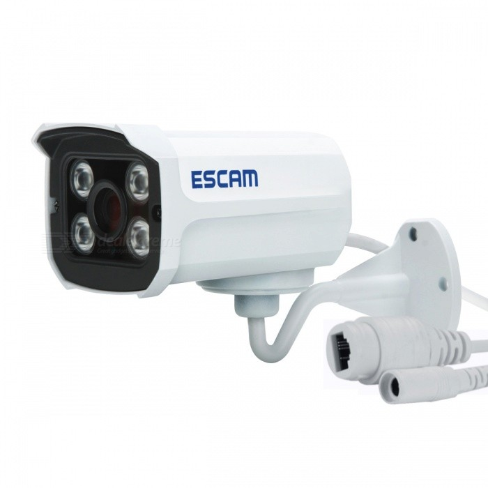 ESCAM QD300 ONVIF P2P CMOS Waterproof Network IP Bullet Camera - WhiteIP Cameras<br>Form  ColorWhiteBrandESCAMModelQD300MaterialAluminum AlloyQuantity1 pieceImage SensorCMOSImage Sensor SizeOthers,1/4Pixels720P (1280 x 720)Lens3.6mmViewing AngleOthers,62.2 °Video Compressed FormatH.264Picture Resolution720PFrame Rate25FPSInput/OutputNoAudio Compression FormatNoMinimum Illumination0.01 LuxNight VisionYesIR-LED Quantity4Night Vision Distance15 mWireless / WiFiNoNetwork ProtocolTCP,IP,UDP,HTTP,SMTP,FTP,DHCP,NTP,DDNS,uPnP,PPPoE,Others,IPv4/IPv6, HTTPS, SSL, ICMP, IGMP, SNMP, RTSP, RTP, DNSSupported SystemsXP,7,Others,Windows 8Supported BrowserIE 6.0 and above,Google Chrome,FirefoxSIM Card SlotNoOnline Visitor10IP ModeStaticMobile Phone PlatformAndroid,iOSFree DDNSYesIR-CUTYesBuilt-in Memory / RAMNoLocal MemoryNoMemory CardNoMax. Memory SupportedNoMotorNoRotation AngleNoZoomNoSupported LanguagesEnglish,Simplified ChineseWater-proofIP66Power AdaptornoPower AdapterWithout Power AdapterRate VoltageDC 12VRated Current1 ACertificationCE,FCC,RoHSOther FeaturesSoftware &amp; Video: http://www.escam.cn/en/DownloadForm  ColorWhitePower AdapterWithout Power AdapterPacking List1 x Network Camera1 x English user manual1 x Screw Pack1 x Tail Cable (44cm)<br>