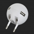 Dual USB Output Car Charger + 2-USB Female Flipping EU Plug Football Style Power Adapter - White