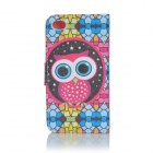 Sole Cartoon simpatico gufo caso PU Flip-open modello w / titolare + Slot Card per IPHONE 4 / 4S