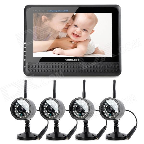 """890+706DX4 7"""" TFT LCD Wireless 4-CH DVR Monitor + 4-0.3MP CMOS Camera Security System w/ 24-IR LED"""