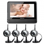 890+706DX4 7″ TFT LCD Wireless 4-CH DVR Monitor + 4-0.3MP CMOS Camera Security System w/ 24-IR LED