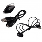 W-sound i3 2-in-1 Bluetooth V4.0 Earhook Headset w/ Voice Prompt / Control - Black + Silver