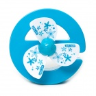 Cute E-Shaped Rechargeable USB Mini Desk Fan - Blue