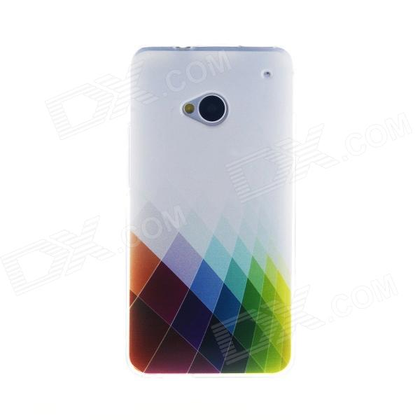 Kinston Colorful Rhombus Pattern TPU Soft Case for HTC One M7 - White + Red