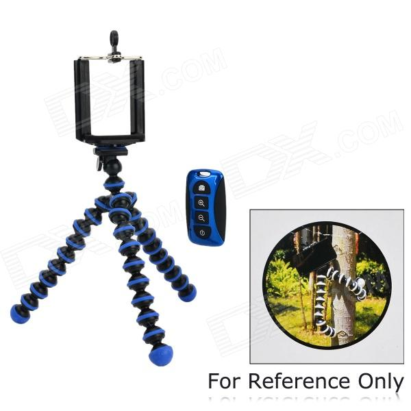 Adjustable Mobile Phone Tripod Holder w/ Wireless Bluetooth Selfie Remote Control - Blue (CR2032)