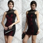 LC2882-2 Sexy Embroidered Lacy Sleeveless Bodycon Dacron Mini Dress - Red + Black