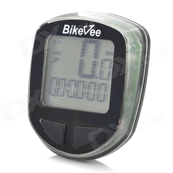 "Bikevee B10017 1.5"" LCD Wireless Electronic Bicycle Computer Speedometer - Black (1 x CR2032)"