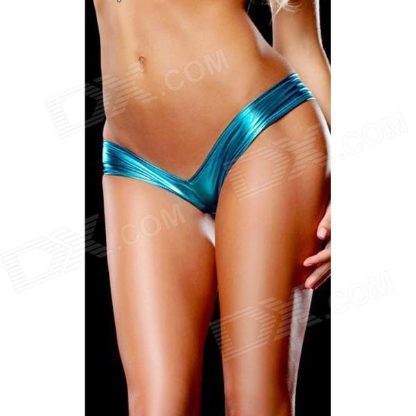 Womens Hot Sexy Metallic Spandex Panty Thong Lingerrie Underwear - Blue