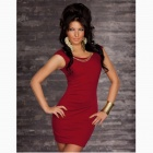 Fashionable-Sexy-Sleeveless-Package-Hip-Slim-Nylon-Dress-Claret-Red