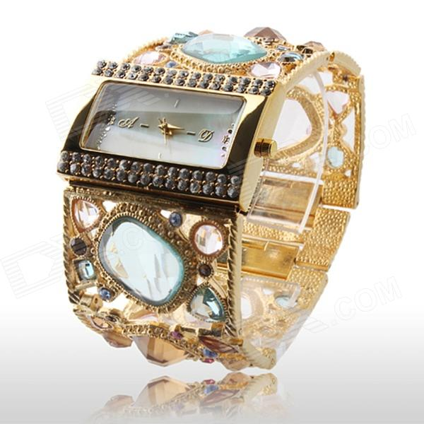 Women's Fashionable Bracelet Style Rhinestone Inlaid Zinc Alloy Band Analog Quartz Watch (1 x 377)
