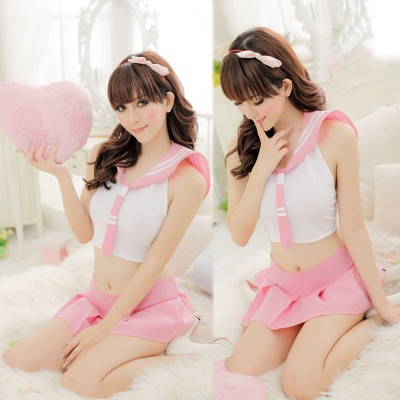 Women's Fashionable Sexy Student Style Cosplay Sleep Dress Set - White + Light Pink