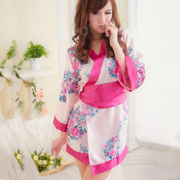Women's Fashionable Sexy Kimono Style Sleep Dress Set - Red for sale in Bitcoin, Litecoin, Ethereum, Bitcoin Cash with the best price and Free Shipping on Gipsybee.com