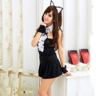 Gatto Sexy alla moda stile Cosplay sonno Dress Set donna - nero
