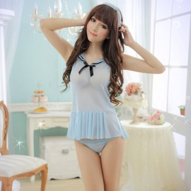 Women's Fashionable Sexy See-through Cosplay Sleep Dress Lingerie Set -  Blue