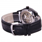 Sewor M113-2 Men's PU Leather Band Self-winding Mechanical Analog Wristwatch - Black + Silver
