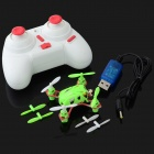 WLtoys V282 Mini 2.4G 4-CH Gyro Radio 4-Propeller Aircraft Toy w/ Remote Control - Green + White