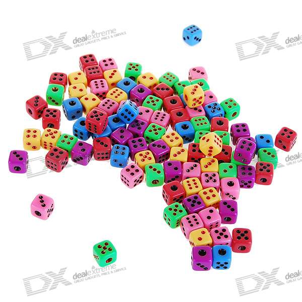 Colorful 6mm Super Mini Gaming Dice - Multicolor (50-Pack)