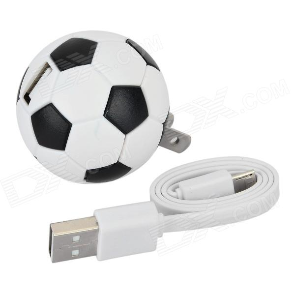 NC-5005 di calcio a forma di spine US Power Adapter + cavo USB - Bianco + Nero (Cable-35cm)