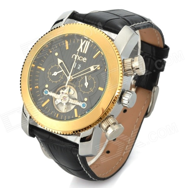 mce Fashionable Luxury Alloy Casing Analog Automatic Mechanical Watch - Golden Yellow + Black