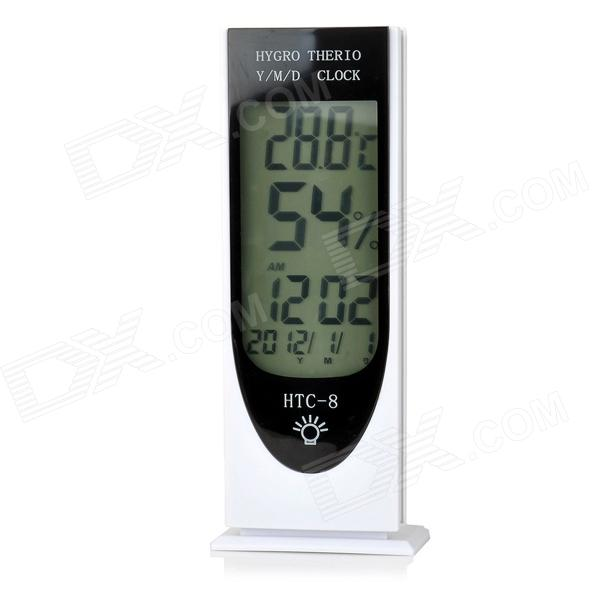 "HTC-8 Digital 3.7"" LCD Glow-in-the-dark Hygrothermograph / Thermohygrometer w/ Clock (2 x AAA)"