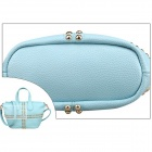 Alla moda singola spalla PU Leather Bag borsa QB-20 donne w / Zipper - luce blu + Golden