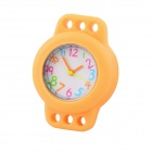 Children's Knitting Silicone Bands DIY Quartz Analog Bracelet Wrist Watch - Orange (1 x 377)