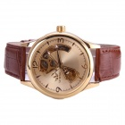 Sewor M104-1 Fashion Skeleton Auto Mechanical Watch for Men - Golden + Brown