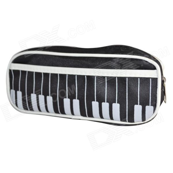 ZIZU MG-24 pianoforte tastiera stile Oxford impermeabile con zip cancelleria matita Bag - nero