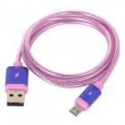 Universal USB Male to Micro USB Male Data Sync & Charging Cable w/ Knitted Housing - Pink Purple
