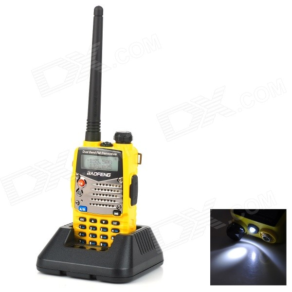 BAOFENG UV-5RA 1.5 LCD 5W Dual Band 128-CH Walkie TalkieWalkie Talkies<br>Form  ColorYellowBrandBAOFENGModelUV-5RAQuantity1 DX.PCM.Model.AttributeModel.UnitMaterialPC + ABSFrequency Range136~174MHz / 400~520MHzChannel128Frequency Stability+/-2.5 DX.PCM.Model.AttributeModel.UnitOutput Power5 DX.PCM.Model.AttributeModel.UnitWorking Voltage   7.4 DX.PCM.Model.AttributeModel.UnitWorking Distance5000~8000mEncryptionCTCSS,DCSBattery Capacity1800 DX.PCM.Model.AttributeModel.UnitStandby Time80 DX.PCM.Model.AttributeModel.UnitWorking Time8~12 DX.PCM.Model.AttributeModel.UnitPacking List1 x Walkie Talkie1 x 1800mAh rechargeable battery1 x Battery charger1 x Antenna1 x Bracket1 x 100~240V power adapter (2-flat-pin plug / 110cm)1 x Earphone (110cm cable)1 x Hand strap (20cm)1 x English user manual<br>