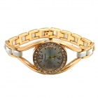 Women's Fashionable Rhinestones Studded Quartz Analog Bracelet Watch - Golden + White (1 x LR626)