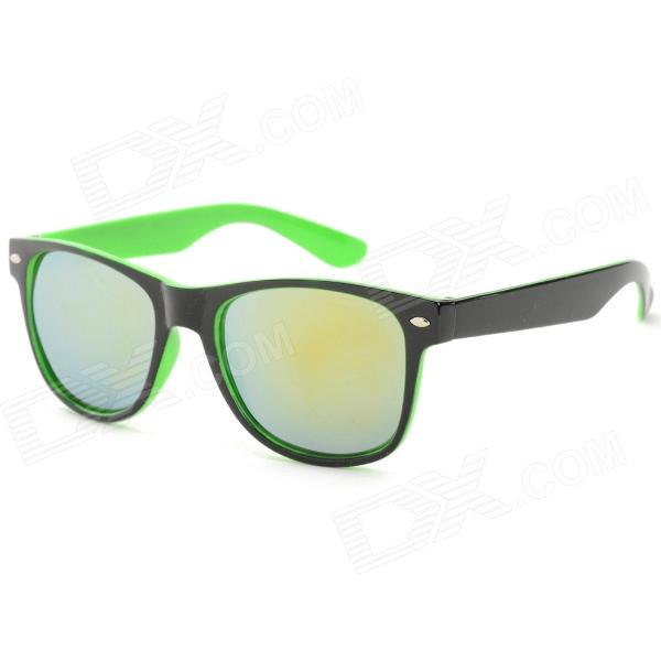 Unisex Anti-UV UV400 Protection Plastic Frame PC Lens Sunglasses - Black + GreenSunglasses<br>Frame ColorBlack + Yellowish BlackLens ColorChrome SilverBrandN/AModelN/AQuantity1 DX.PCM.Model.AttributeModel.UnitShade Of ColorGreenFrame MaterialPlasticLens MaterialPCProtectionUV400GenderUnisexSuitable forAdultsFrame Height4.8 DX.PCM.Model.AttributeModel.UnitLens Width5.2 DX.PCM.Model.AttributeModel.UnitBridge Width2.1 DX.PCM.Model.AttributeModel.UnitOverall Width of Frame14.5 DX.PCM.Model.AttributeModel.UnitPacking List1 x Sunglasses1 x Cleaning cloth1 x Case<br>