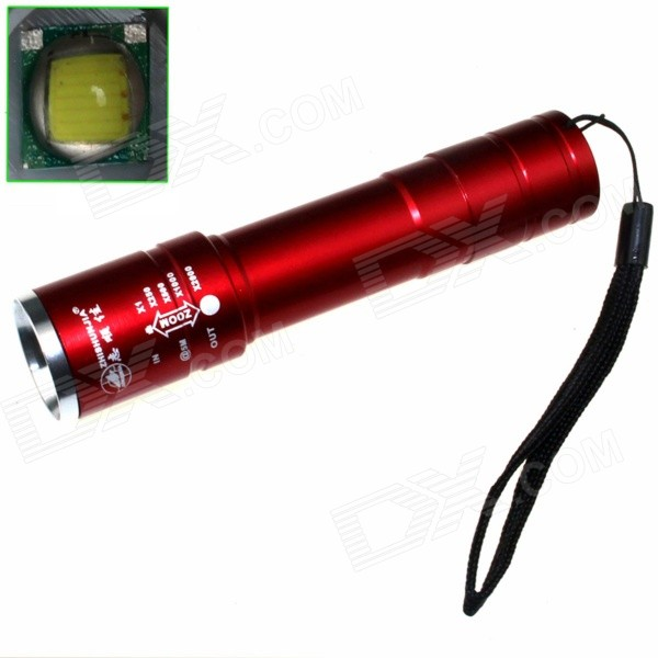 ZHISHUNJIA B-T40R LED 720lm 5-Mode Zooming Flashlight - Red (1 x 18650)18650 Flashlights<br>Form ColorRedBrandZHISHUNJIAModelB-T40BQuantity1 DX.PCM.Model.AttributeModel.UnitMaterialAluminium alloyEmitter BrandCreeLED TypeXM-LEmitter BINT6Number of Emitters1Color BINWhiteWorking Voltage   3.7 DX.PCM.Model.AttributeModel.UnitPower Supply1 x 18650 (not included)Current2.8 DX.PCM.Model.AttributeModel.UnitActual Lumens720 DX.PCM.Model.AttributeModel.UnitRuntime4 DX.PCM.Model.AttributeModel.UnitNumber of Modes5Mode ArrangementHi,Mid,Low,Fast Strobe,SOSMode MemoryNoSwitch TypeClicky SwitchSwitch LocationTailcapLensPlasticReflectorNoBeam Range300 DX.PCM.Model.AttributeModel.UnitStrap/ClipStrap includedPacking List1 x Flashlight1 x Hand rope (12CM)<br>