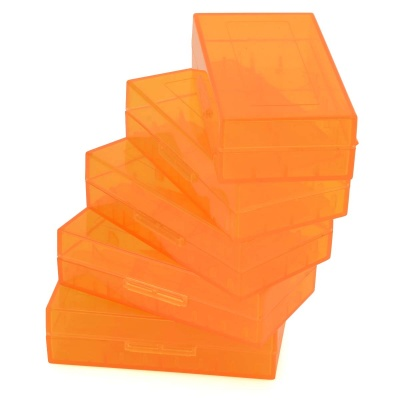PP 18650 / CR123A / 16340 / CR2 / 15270 Battery Storage Cases - Translucent Orange (5 PCS)