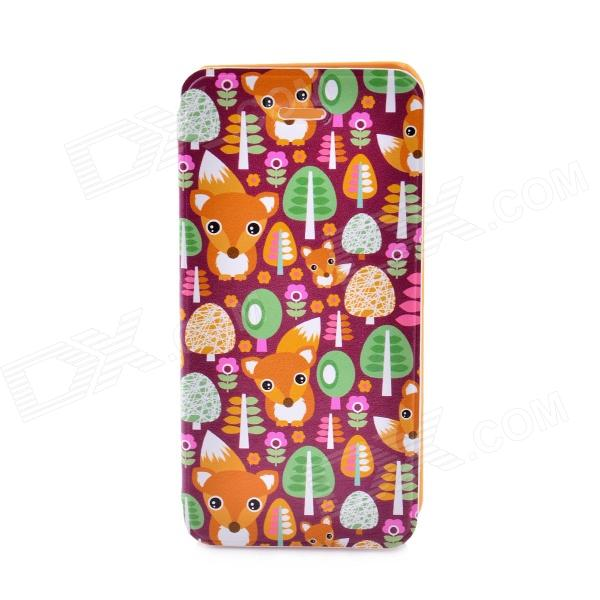 LOFTER Winter Sonata Series Cute Foxes Family Flip-open Protective Case for IPHONE 5C - Orange