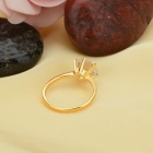 KCCHSTAR Gold Plating Zinc Alloy + Crystal Finger Ring for Women - Golden + Transparent (US Size 8)