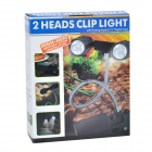 Clip-on 3W 30lm 6-LED Dual-Lamp Flexible Neck Tablet Lamp - Black + Silver (3 x AA)