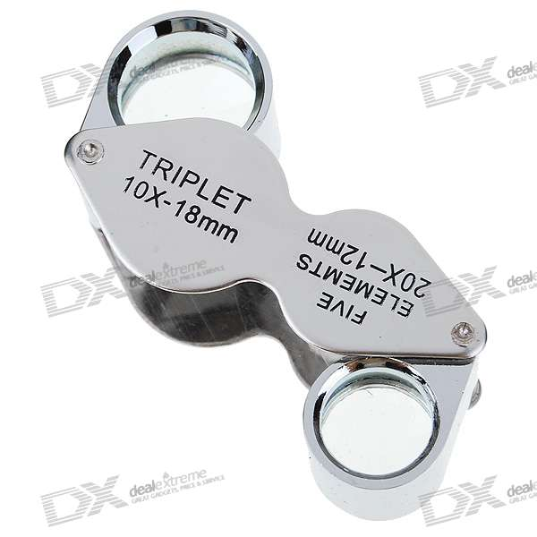 Dual Side 10X 18mm + 20X 12mm Jewelers Loupes / Magnifiers