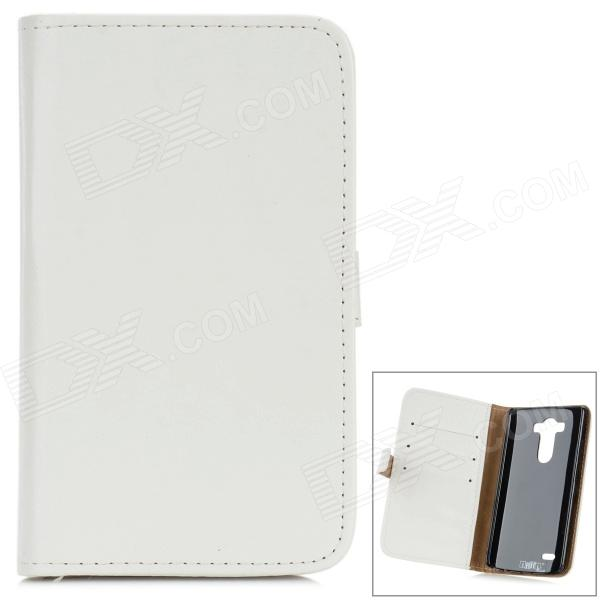 Buy Protective Flip Open PU Case w/ Stand / Card Slots for LG G3 / D855 - White with Litecoins with Free Shipping on Gipsybee.com
