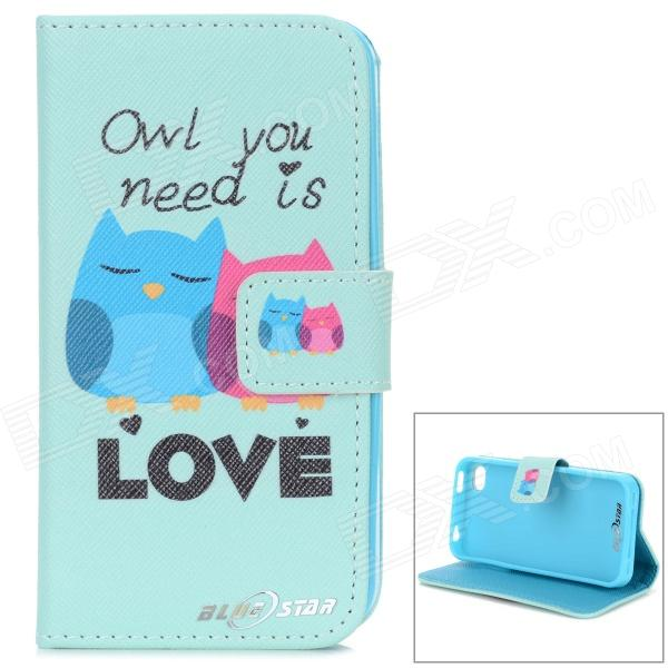 YI YI carino Cartoon Owl Pattern Flip aperto PU Custodia w / Stand / Card slot per IPHONE 4G / 4S - verde