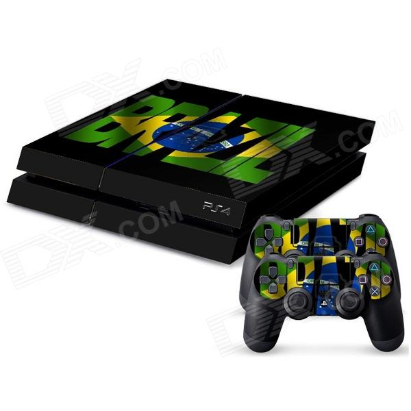 Brazil National Flag Pattern Dustproof Waterproof Host Stickers + Handle Stickers Set for PS4