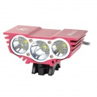 SolarStorm 800lm 3-Mode LED Cool White Front Bicycle Bike Light - Black + Red (4 x 18650)