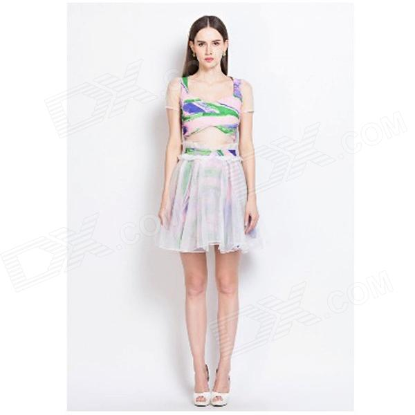YL-02 Sweet Oil Painting Flare Hem Polyester Mini Dress - White + Multicolored (S)