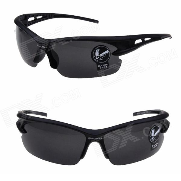 Buy OULAIOU LA-1103 Outdoor Cycling UV400 Protection PC Sunglasses - Black with Litecoins with Free Shipping on Gipsybee.com