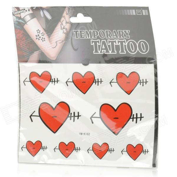 "YM-K162 "" An Arrow through a Heart"" Pattern Sexy Water-resistant Tattoo Paper Sticker - Red + Black"