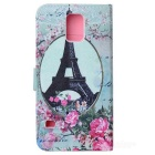 Eiffel Tower Pattern Protective Flip-open PU Leather Case for Samsung Galaxy S5 - Dark Pink + Green