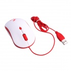 Juexie M2011 Shining Rats 800/1200/1600dpi Optical Wired Fashion Mini Mouse - White + Red